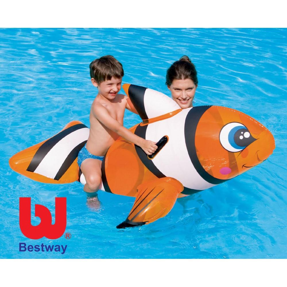 Gonfiabile a forma di pesce pagliaccio cavalcabile 1.57 x 94 cm BESTWAY