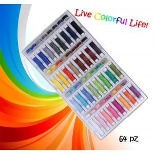 Image of Set colorato 64 pz di rocchetti e spole di filo per cucito multiuso in poliestere con custodia 8025478593559
