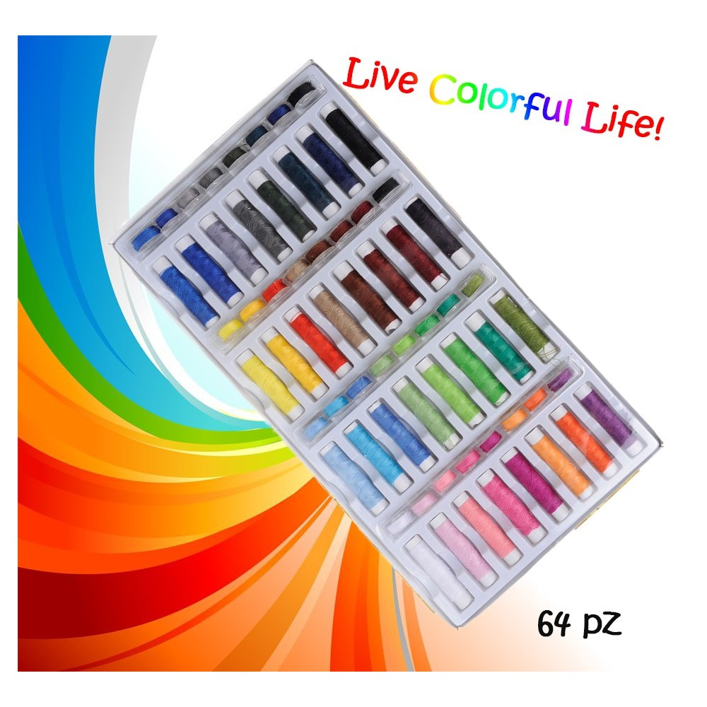 Set colorato 64 pz di rocchetti e spole di filo per cucito multiuso in poliestere con custodia