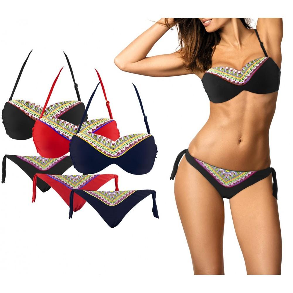 Costume bikini CY9927 mod. NICLA due pezzi coppe imbottite fantasia geometrica