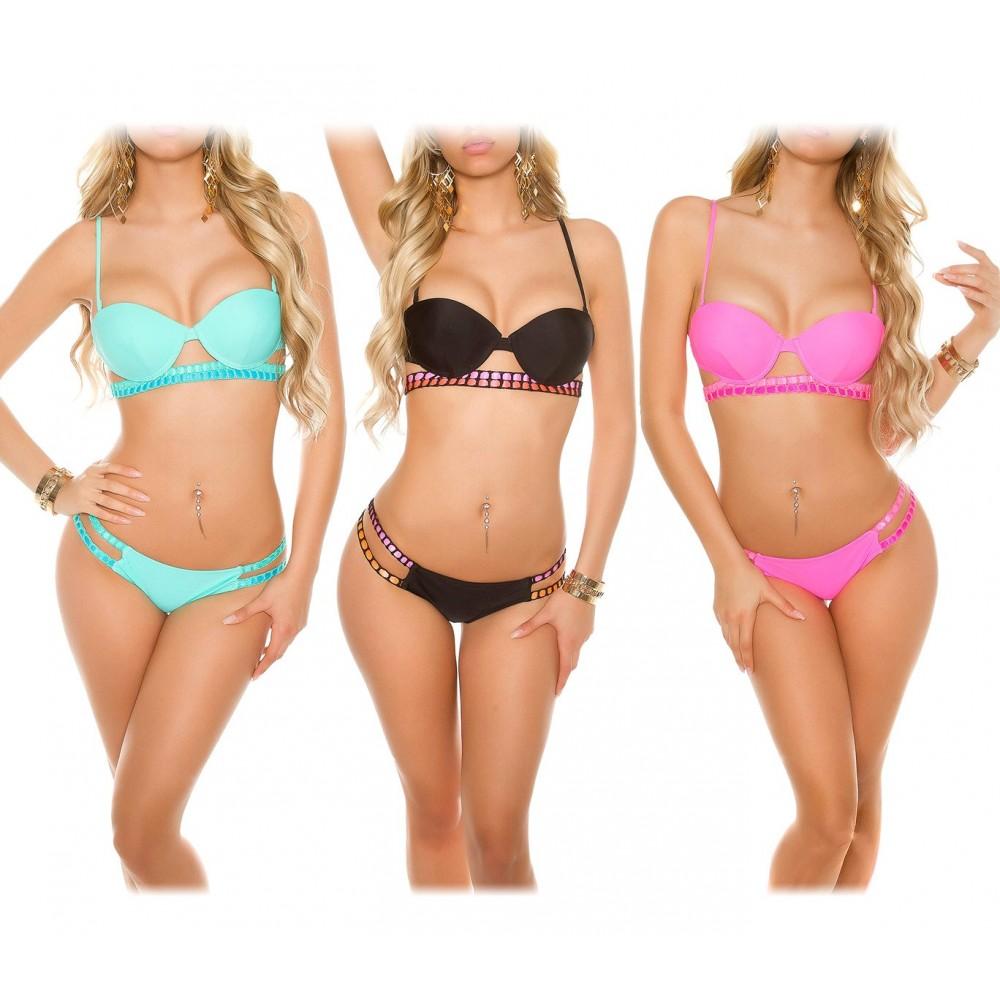 Costume bikini H2832 mod. CROCHET due pezzi coppe imbottite nastri incrociati