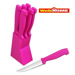 Image of Ceppo di coltelli a punta da tavola WELKHOME linea color 6 pz lama 12 cm manico ergonomico 8017464758677