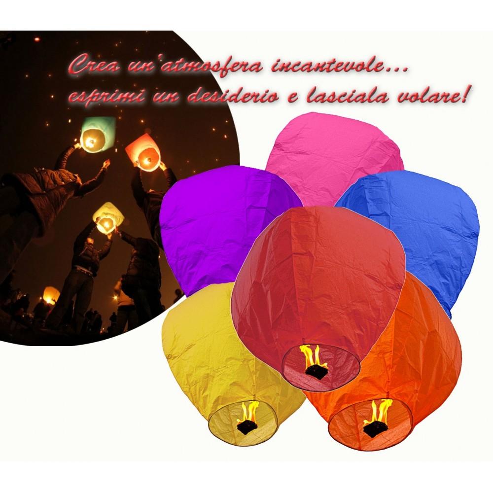 Lanterna volante tonda colorate mongolfiera diametro 33 cm magica atmosfera