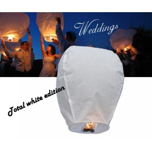 Lanterne volanti total white edition wedding love lanterns diametro 33 cm