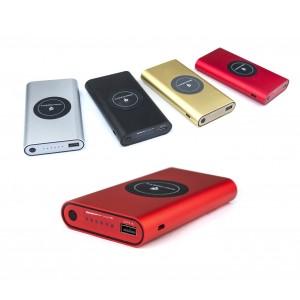 Powerbank portatile 10000 mAh carica batterie e piastra Qi per ricarica Wireless