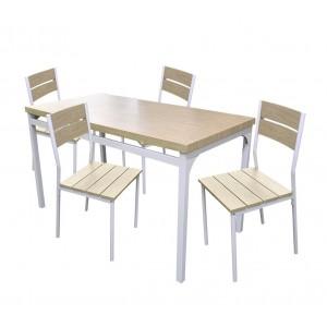 Tavolo giardino AH con 4 sedie metallo e legno 433843 ROVERE CHIARO 110x70x75 cm