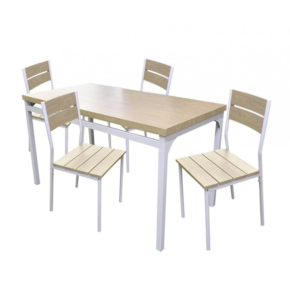 Tavolo In Legno Con 4 Sedie.Tavolo Giardino Ah Con 4 Sedie Metallo E Legno 433843 Rovere Chiaro