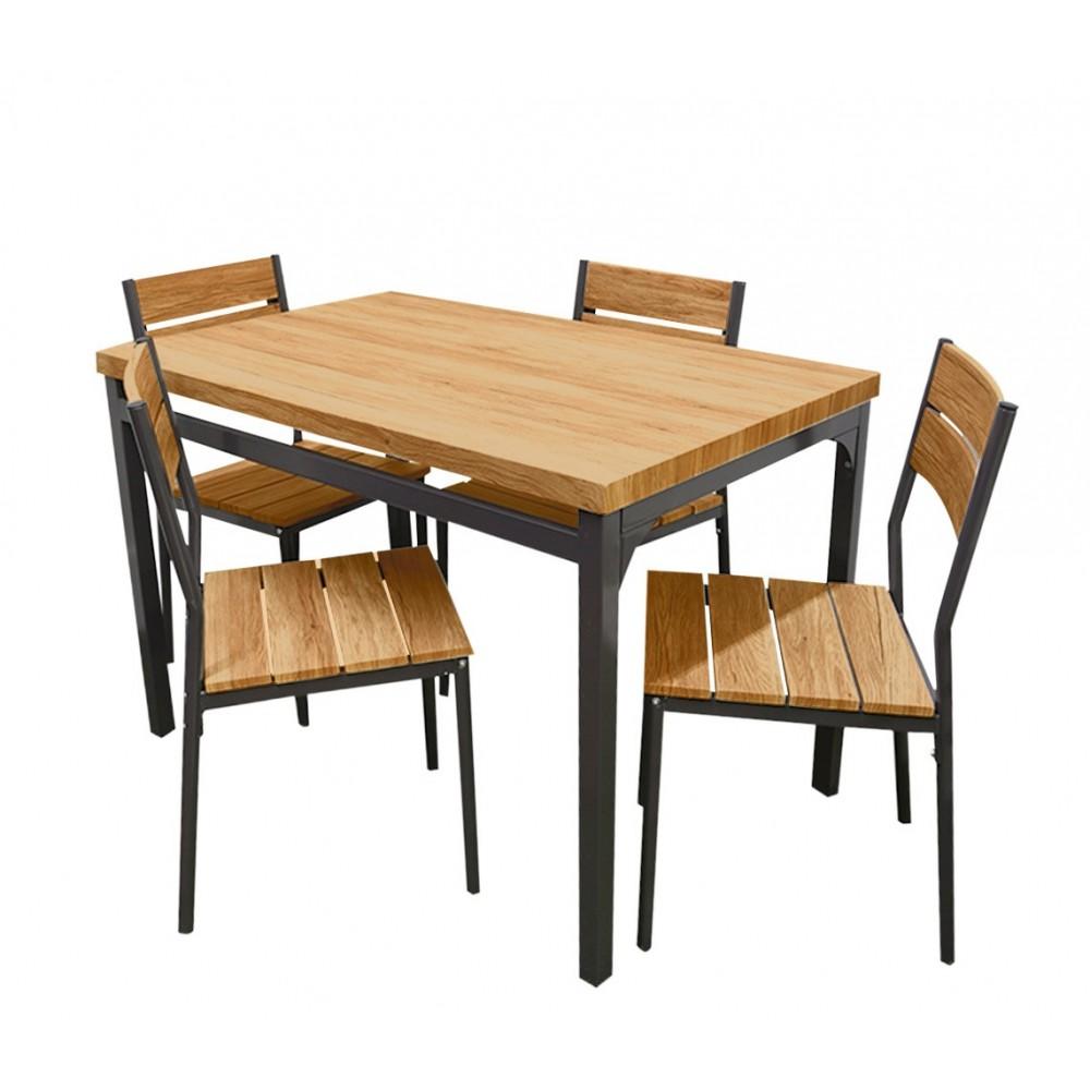 Tavolo giardino AH con 4 sedie metallo e legno 433850 ROVERE SCURO 110x70x75 cm