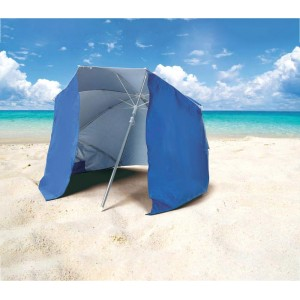 Ombrellone e tenda 2 in 1 da spiaggia 265918 con telo parasole a velcro