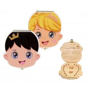 Cofanetto in legno colorati porta dentini da latte per bambino e bambina