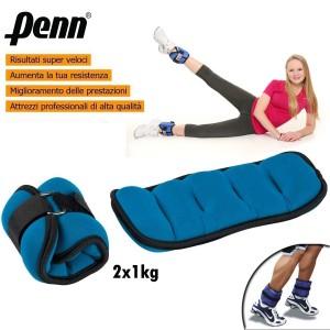Coppia di pesi 2x1kg per caviglie o polsi fitness e jogging allenamento cavigliere o polsiere Linea Penn