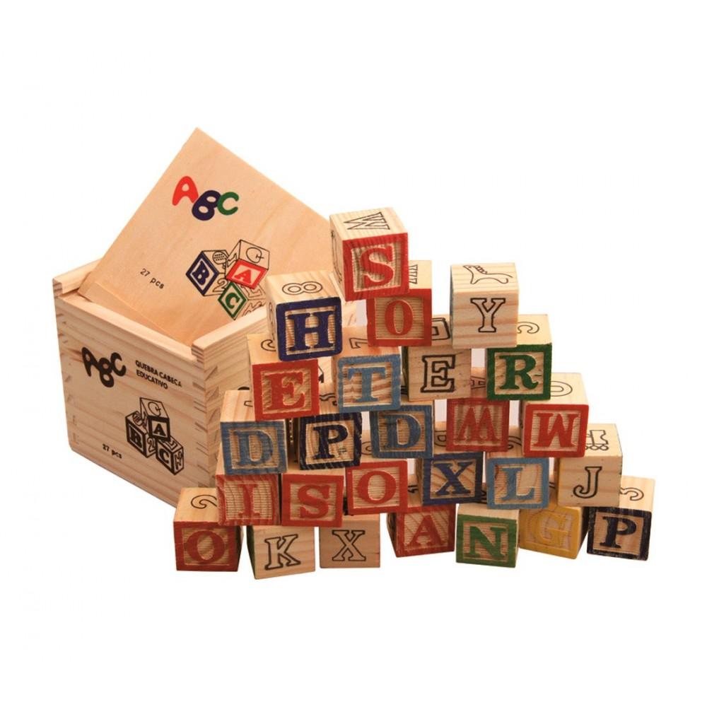 Playset pedagogico 27 pz scatola e cubi in legno animali lettere numeri 3x3 cm