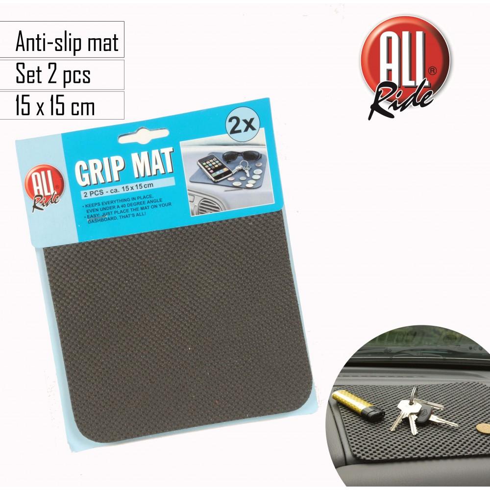 Set 2 tappetini 15x15 cm antiscivolo universale per cruscotto auto portaoggetti GRIP MAT antigraffio