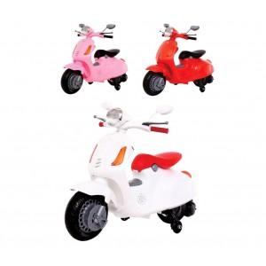 Moto elettrica VESPINA per bambini B38110 con rotelle 12V luci e suoni MP3