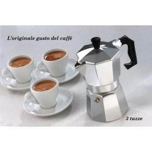 Caffettiera moka classica 3 tazze caffè espresso fatto in casa