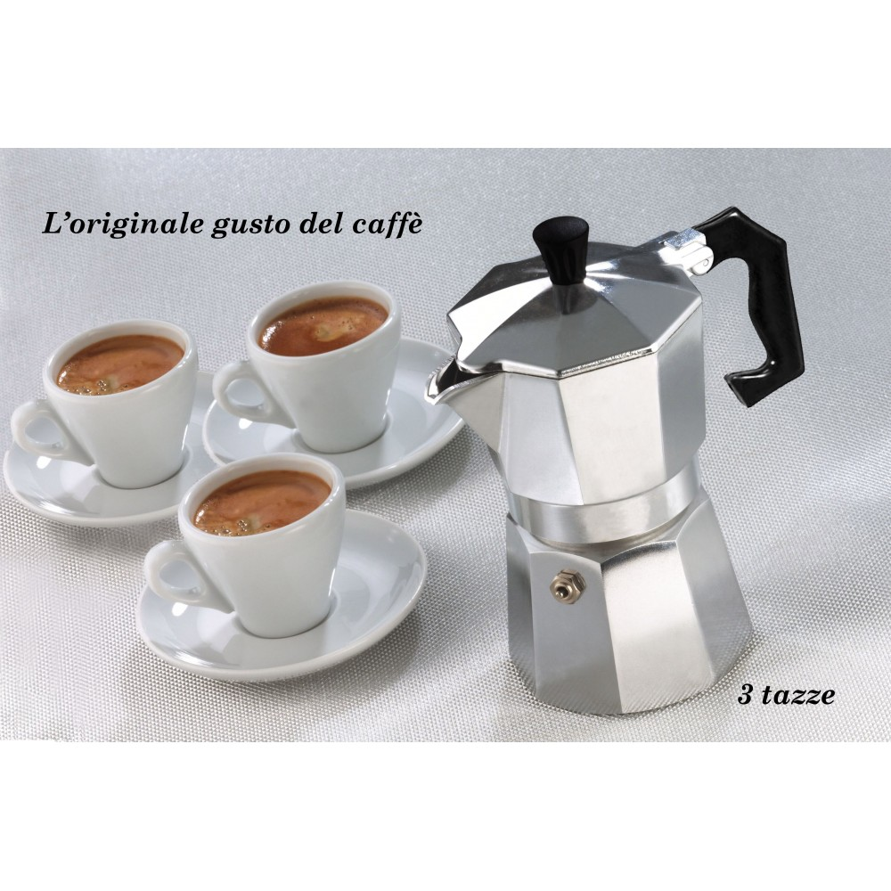Caffettiera moka 3 tazze classica WELKHOME caffè espresso fatto in casa manico plastica