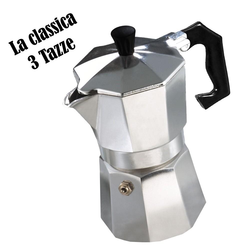 Caffettiera moka 3 tazze classica WELKHOME caffè espresso manico plastica