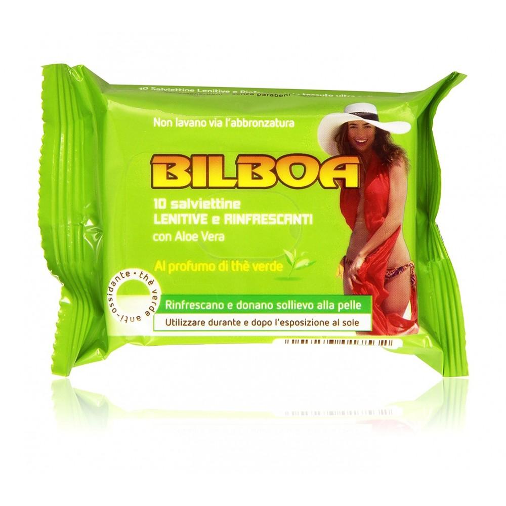 Pack 10 salviette Bilboa thè verde Lenitive e Rinfrescanti per l'abbronzatura