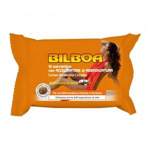 Pack 10 salviettine Bilboa al profumo di cocco con Acceleratore di abbronzatura