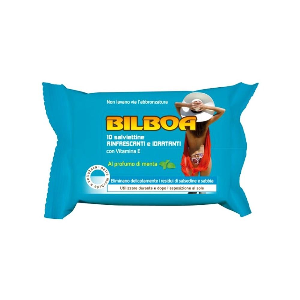 Pack da 10 salviettine Bilboa alla menta rinfrescanti e idratanti dopo sole