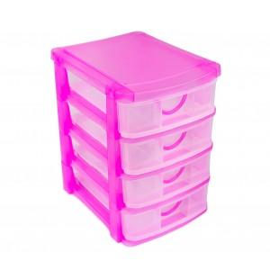 Cassettiera multiuso a 4 Piani 684203 plastica rigida colorata 13x17x18.5 cm