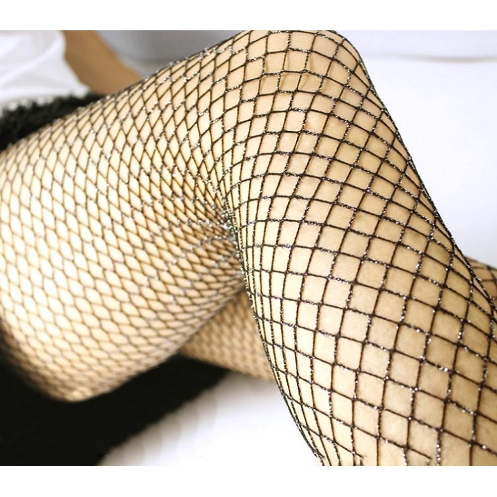 Collant a rete vita alta DUPU mod 508 elasticizzate glitterata maglia larga