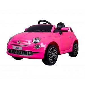 Image of Auto bambini elettrica FIAT 500 cabrio B90106 sedile in pelle 12V telecomando 8435524531488