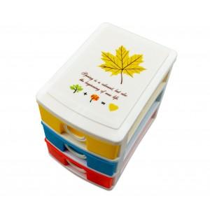 Mini Cassettiera 3 Piani Multicolor WELKHOME 391594 plastica rigida 9x13x11.5 cm