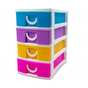 Mini Cassettiera 4 Piani Multicolor WELKHOME 391600 plastica rigida 9x13x15 cm
