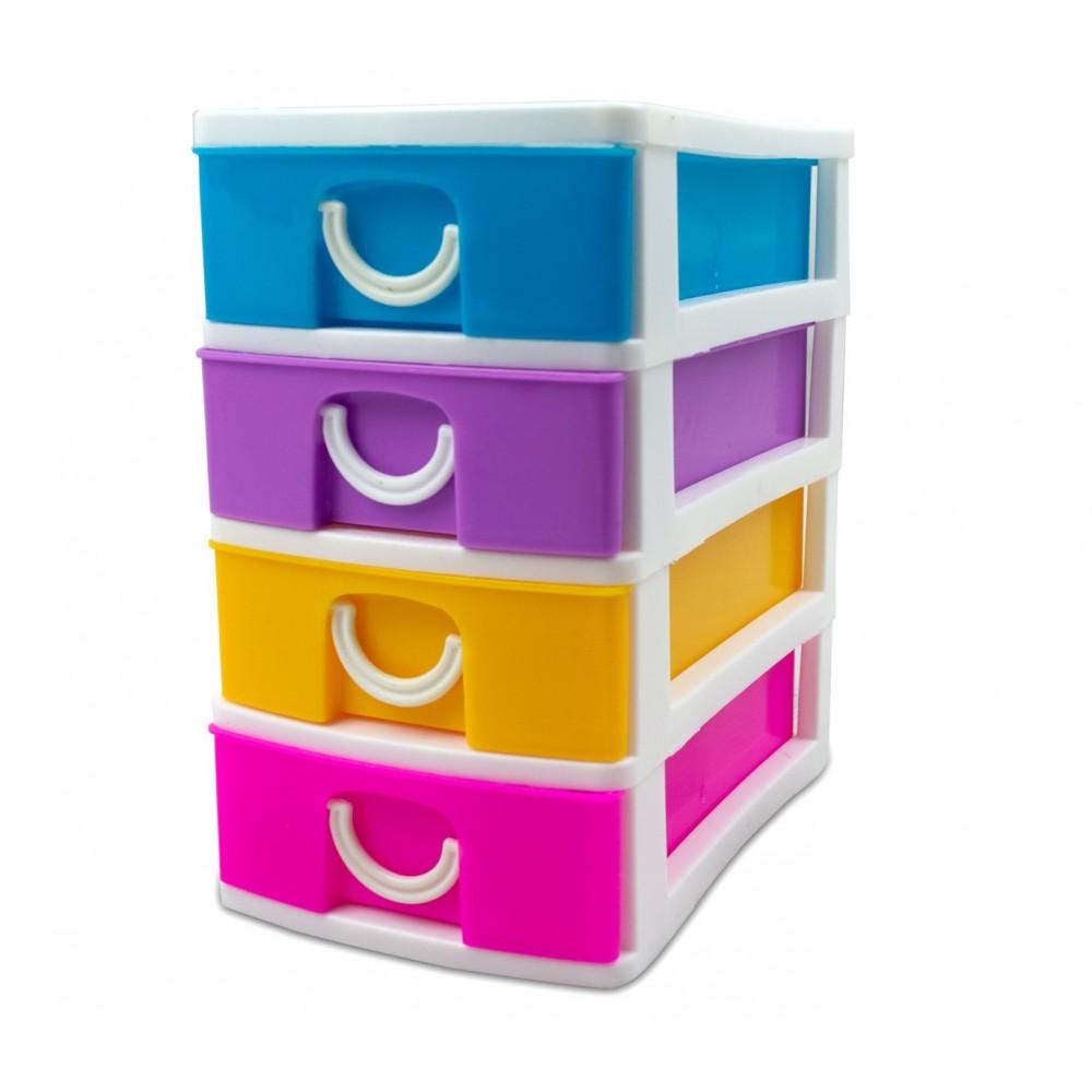 Cassettiere In Plastica Per Magazzino.Mini Cassettiera 4 Piani Multicolor Welkhome 391600 Plastica Rigida 9x
