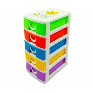 Mini Cassettiera 5 Piani Multicolor WELKHOME 391617 plastica rigida 9x13x18.5 cm