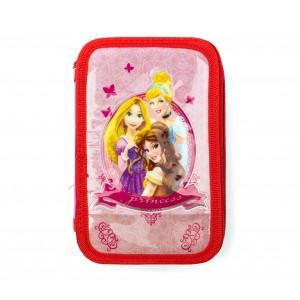 Image of Astuccio portapastelli 3 cerniere 43 pz scuola 455579 Disney Princess Fucsia 8435524540107