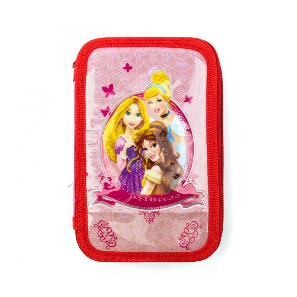 Astuccio portapastelli 3 cerniere 43 pz scuola 455579 Disney Princess Fucsia