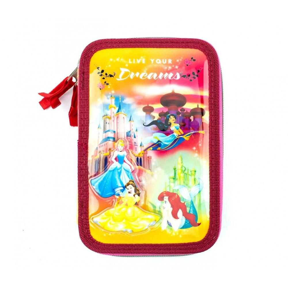 Astuccio portapastelli 3 cerniere 43 pz scuola 455579 Princess LIVE YOUR DREAMS