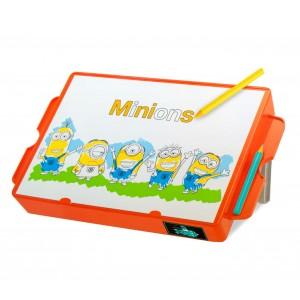 Image of Banco creativo da disegno 098318 con puzzle e stand MINIONS 37x22x15 cm 8435524540251