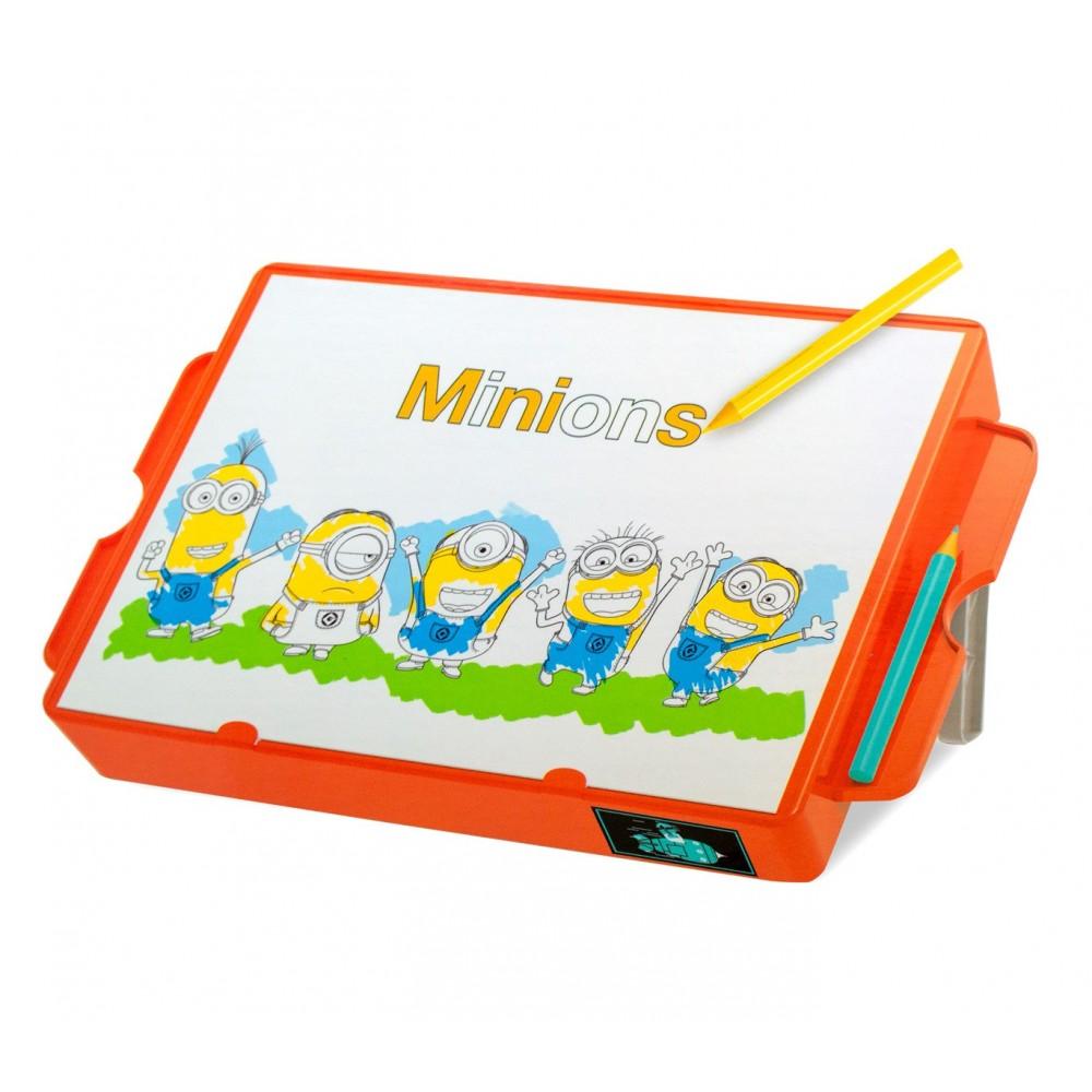 Banco creativo da disegno 098318 con puzzle e stand MINIONS 37x22x15 cm