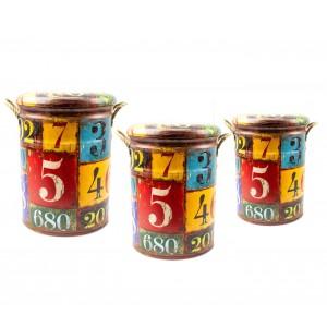 410271 Set di 3 pouf con seduta morbida fantasia NUMERI 3 dimensioni