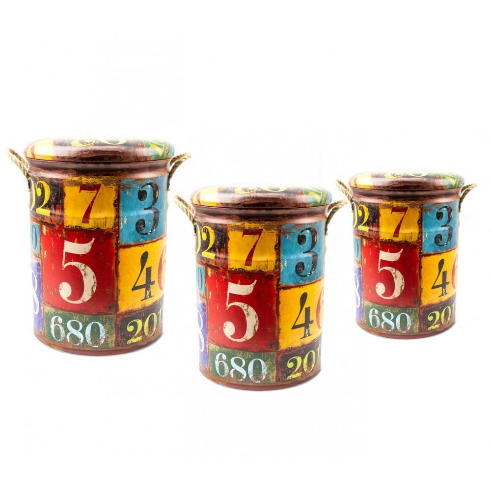 Set di 3 pouf in latta 410271 con seduta morbida fantasia NUMERI con coperchio
