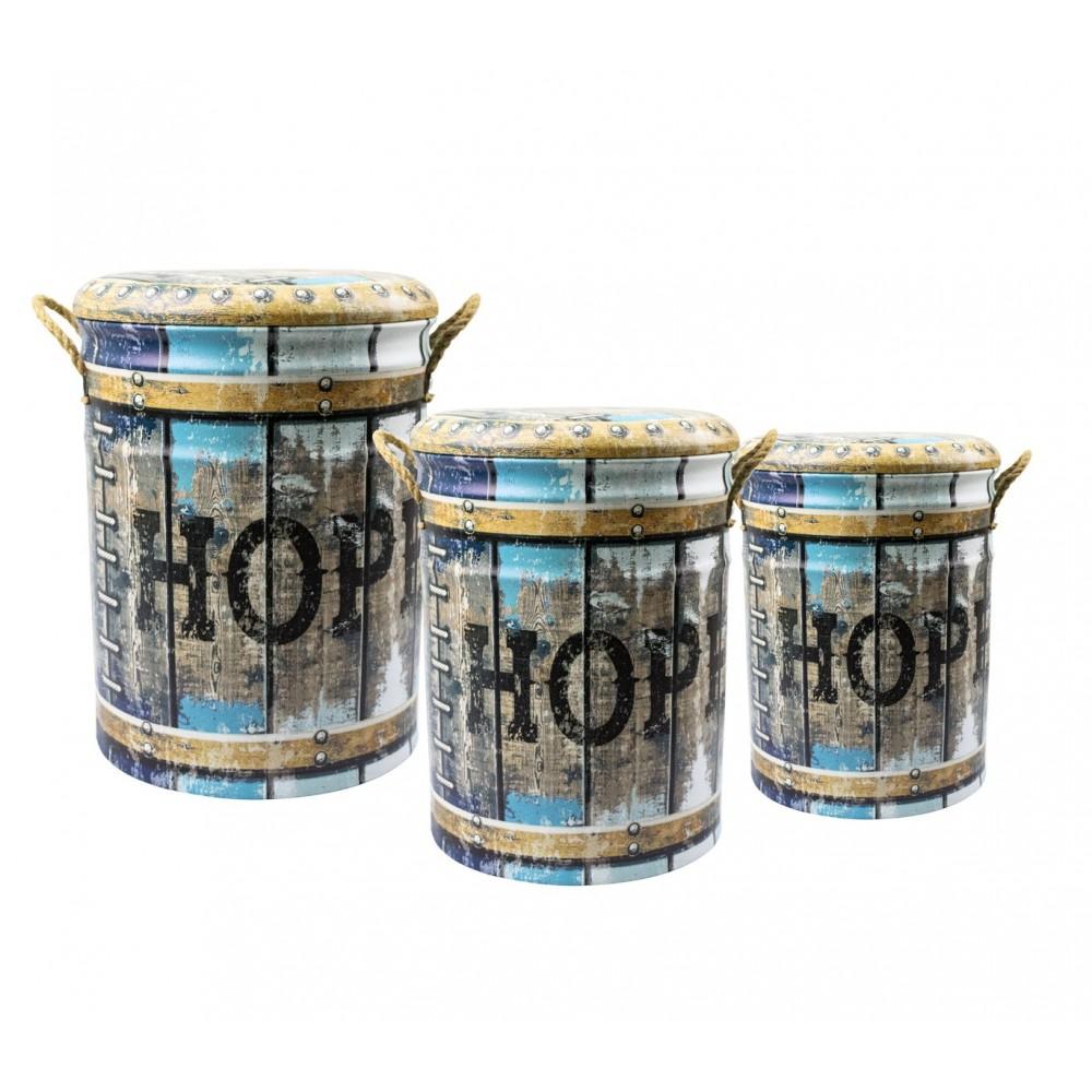 Set di 3 pouf in latta 410264 con seduta morbida fantasia HOPE con coperchio