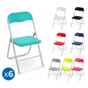 2008AN0816 Set 6 sedie pieghevoli colorate ass. Oslo imbottita con base metallo