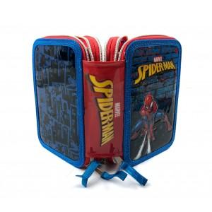 Astuccio portapastelli 3 cerniere argentate 43pz 455500 scuola Spiderman