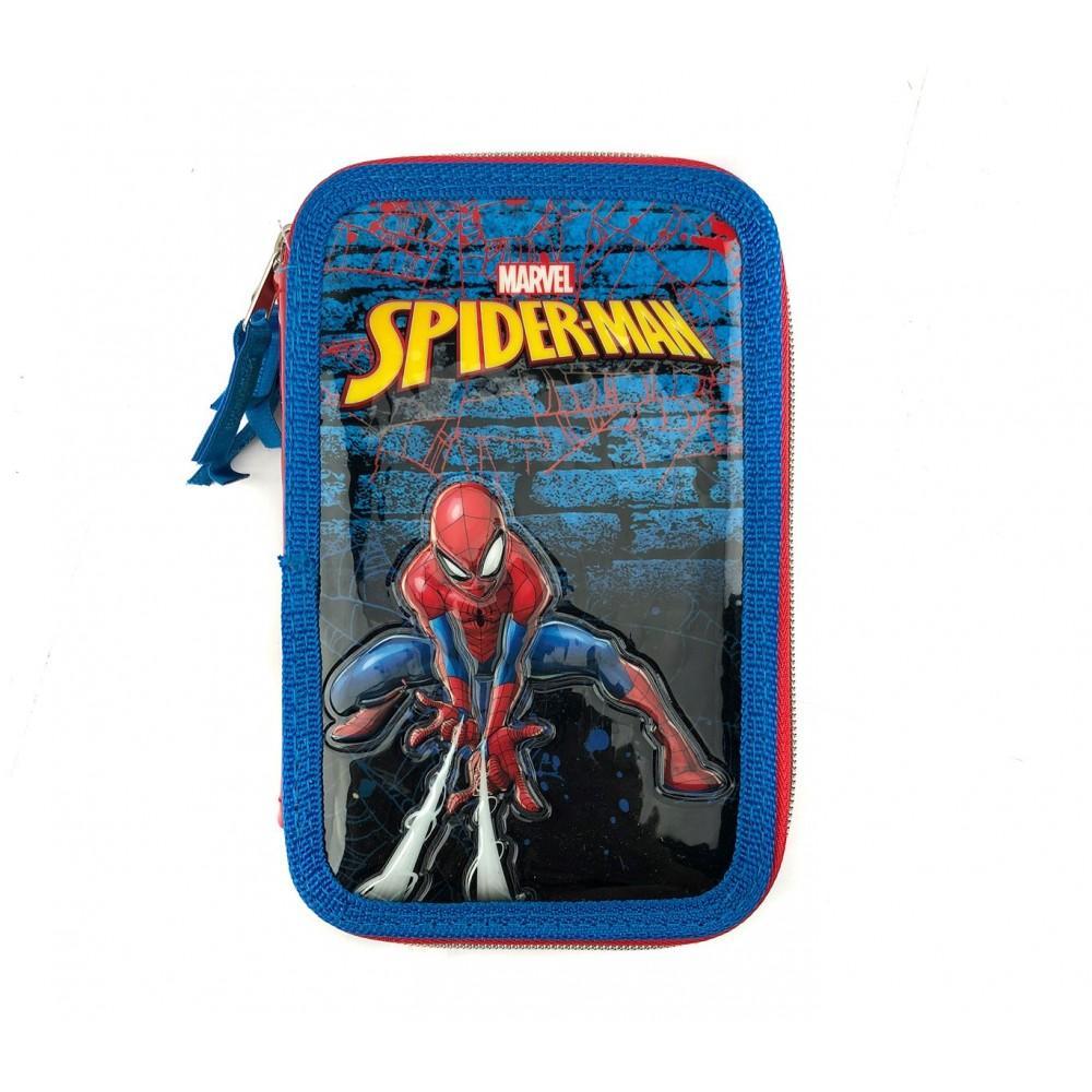 Astuccio portapastelli 3 cerniere argentate 43 pz 455500 scuola Spiderman