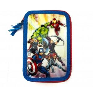 455494 Astuccio portapastelli 3 cerniere 43 pz scuola The Avengers colori