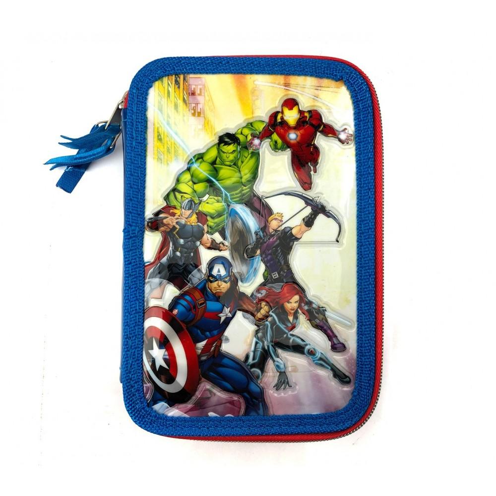 Astuccio portapastelli 3 cerniere 43 pz 455494 scuola The Avengers colori