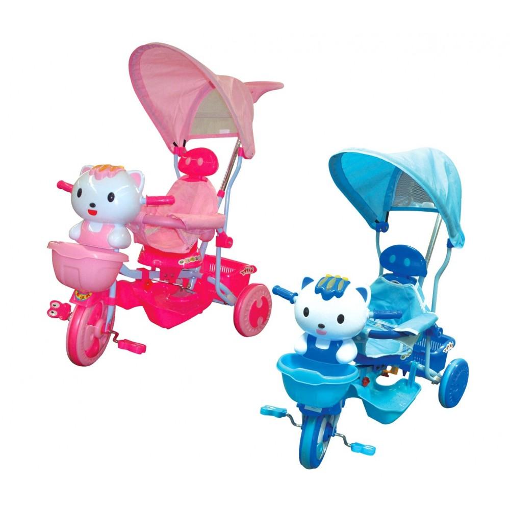 Triciclo GATTINO a spinta con pedali GVC-272 con suoni luci e tettuccio parasole