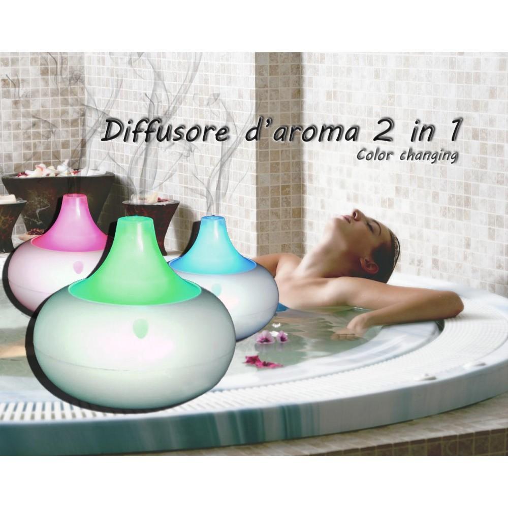Diffusore d'aroma e di oli essenziali 2 in 1 ultrasoni e cromoterapia