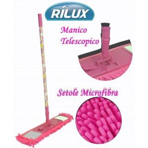 Mop setole in microfibra manico regolabile e telescopico spolvera e asciuga pavimenti scopa RILUX
