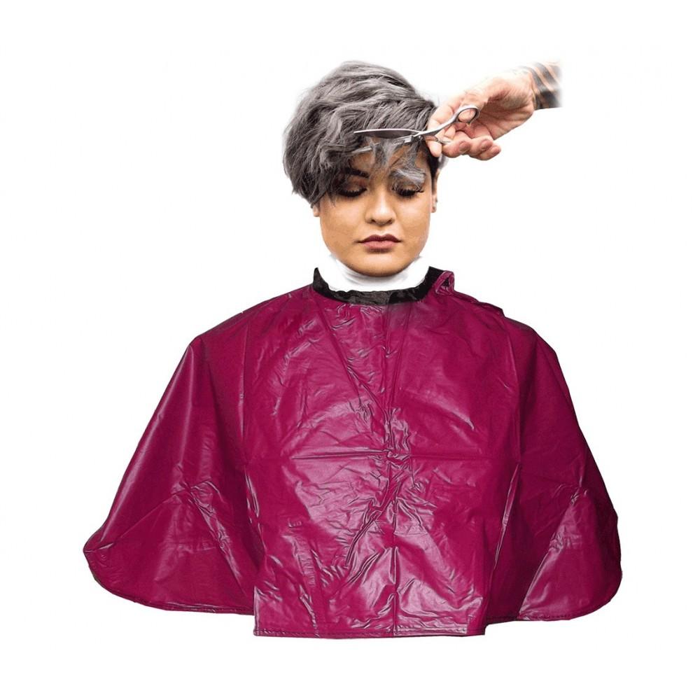 Mantella da parrucchiere corta 159001 bordeaux in pvc 91x68 cm taglio e colore