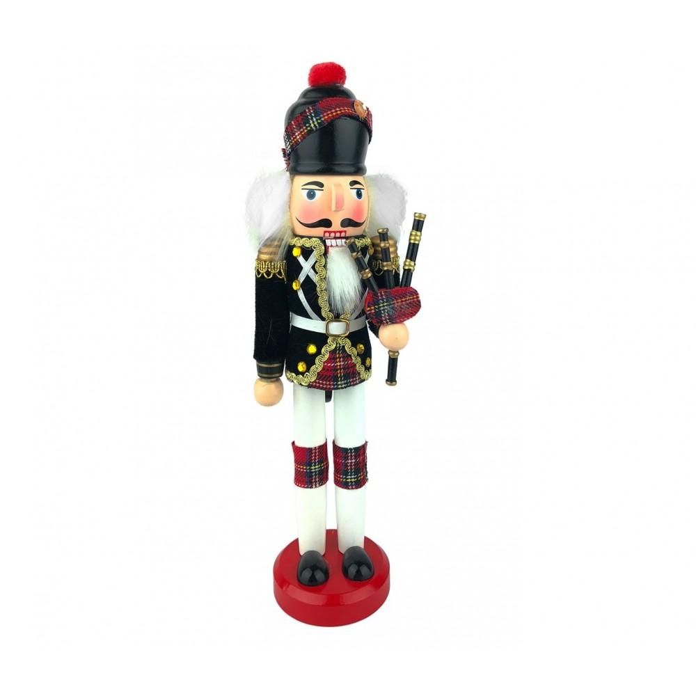 Soldato CORNAMUSA 831003 schiaccianoci 30 cm in legno dipinto a mano