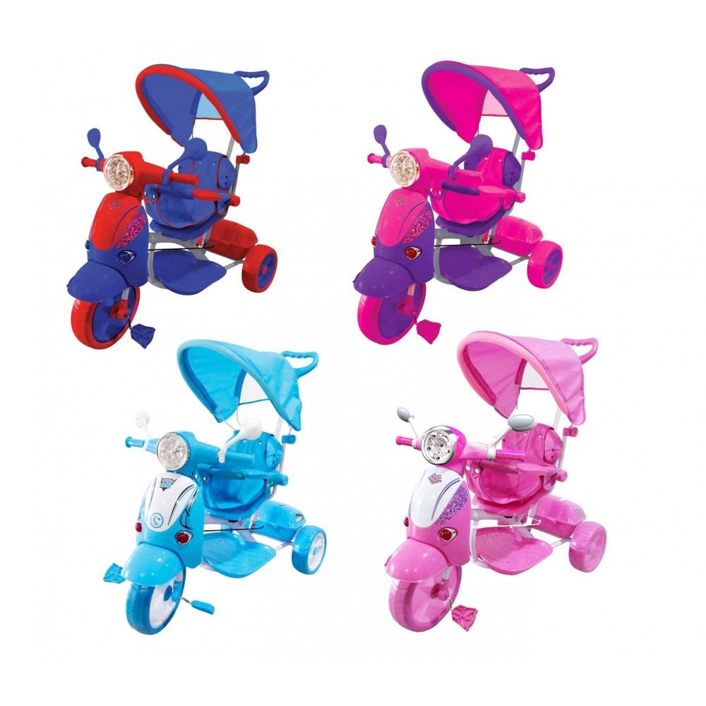 Triciclo a spinta SCOOTER CLASSIC con pedali GVC-519 con suoni luci e tettuccio